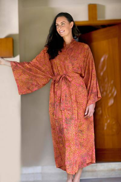 Batik robe, 'Autumn Joy' - Red Orange and Yellow Batik Rayon Front Wrap Robe Handcrafte