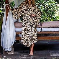 Silk robe, 'Black Hibiscus Haven' - Balinese Ivory Silk Robe with Black Hibiscus