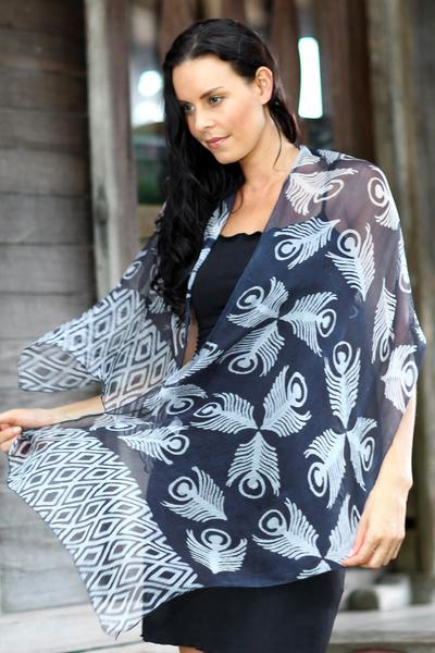 Silk batik shawl, 'Indigo Feather' - Blue Batik Patterned Shawl