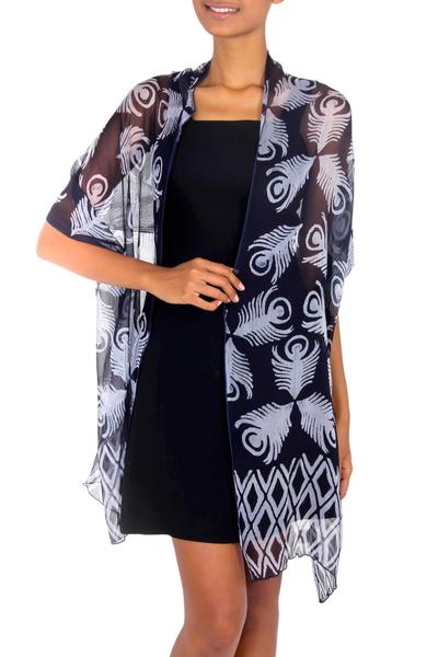 Blue Batik Patterned Shawl