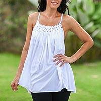 Sequined halter top, 'Elegance in White' - Sequined Tank Top from Indonesia