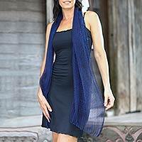 Silk batik scarf, 'Midnight Sea' - Indonesian Batik Silk Scarf Crafted by Hand