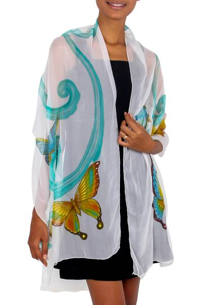 Hand Crafted Silk Painted Shawl from Indonesia