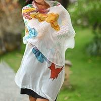 Hand painted silk shawl,