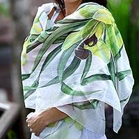 Hand painted silk shawl, 'Green Orchid' - Indonesian Silk Shawl