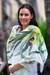 Hand painted silk shawl, 'Green Orchid' - Handpainted Silk Shawl thumbail