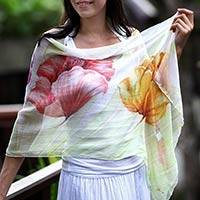 Hand painted silk shawl, 'Glorious Blossoms'