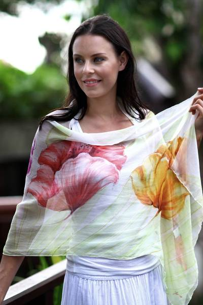 Hand painted silk shawl, 'Glorious Blossoms' - Handmade Floral Silk Painted Shawl