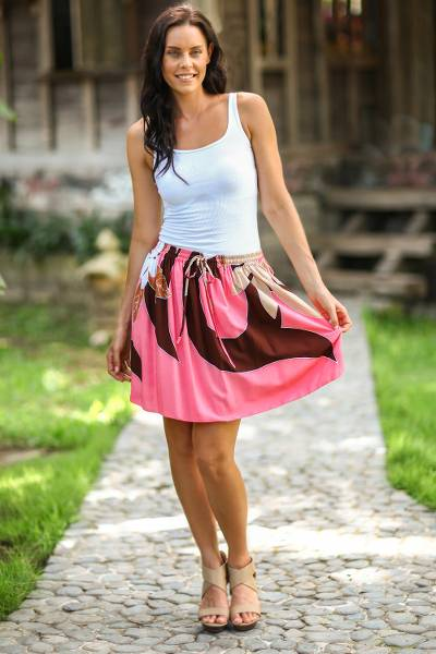 Skirt, 'Pink Plumeria' - Hand Painted Floral Skirt