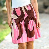 Skirt, 'Pink Summer Beauty' - Floral Skirt Painted by Hand