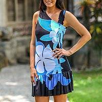 Dress, 'Tropical Blue Flirt' - Hand Painted Floral Sundress