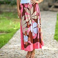 Skirt, 'Graceful Pink Plumeria' - Skirt