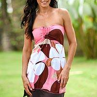 Strapless top, 'Pink Paradise Garden' - Strapless top
