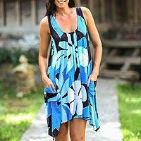 Dress, 'Harmony in Blue' - Hand Painted Floral Dress