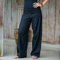 Women's wide cotton pants, 'Black Feminine Grace' - Women's Wide Leg Pants