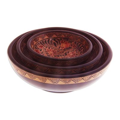 Wood batik centerpieces, 'Javanese Vines' (set of 3) - Wood batik centrepieces (Set of 3)