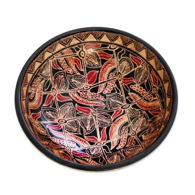 Wood batik centerpiece, 'Jasmine Bud' - Wood batik centerpiece