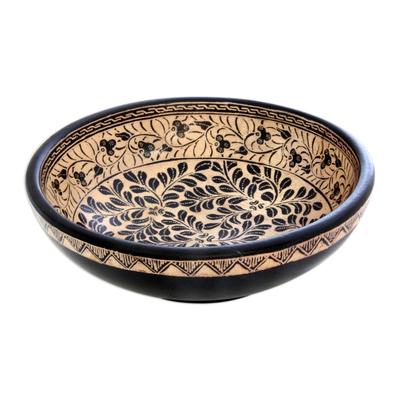 Wood batik centerpiece, 'Harvest in Java' - Wood batik centerpiece