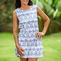 Cotton shift, 'Miki Ikat - Hand Crafted Geometric Patterned Dress