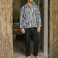 Men's cotton pajamas, 'Ocean Fog' - Men's Balinese Cotton Print Pajamas in Grey and Black