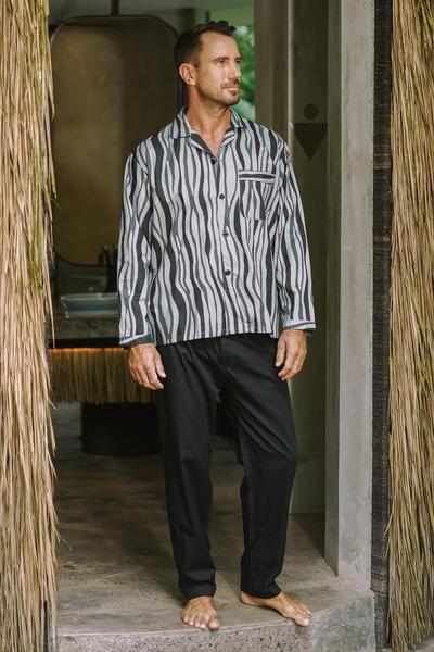 3e89f984e80318 Men s Balinese Cotton Print Pajamas in Grey and Black - Ocean Fog ...