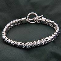 Men's sterling silver braided bracelet, 'Flow' - Men's Handmade Sterling Silver Chain Bracelet