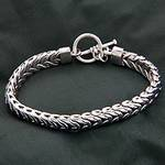 Men's Handmade Sterling Silver Chain Bracelet, 'Flow'