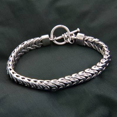 Men S Sterling Silver Braided Bracelet Flow Handmade Chain