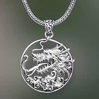 Men's sterling silver pendant necklace, 'Victorious'