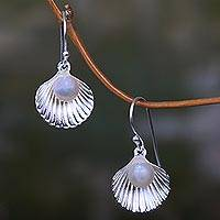 Cultured pearl dangle earrings, 'Gift from the Sea' - Unique Silver Shell and Cultured Pearl Dangle Earrings