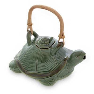 Ceramic teapot, 'Mother Sea Turtle' - Green Ceramic Teapot with Rattan Handle