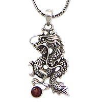 Men's garnet necklace, 'Dragon's Ball' - Sterling Silver Dragon and Garnet Men's Pendant
