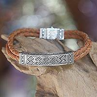 Men's sterling silver and leather bracelet, 'Jakarta Man' - Men's Sterling Silver and Leather Wristband Bracelet