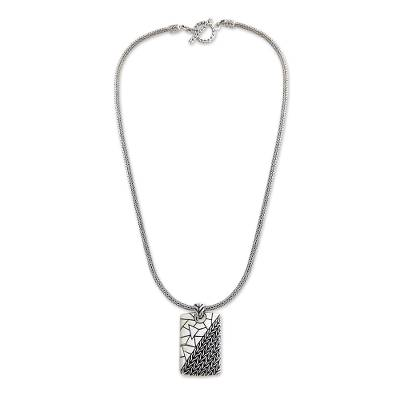 Men's sterling silver pendant necklace, 'Two Characters' - Men's Modern Sterling Silver Pendant Necklace