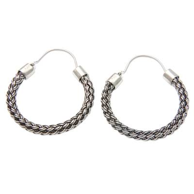 Sterling silver hoop earrings, 'Interwoven' - Hand Crafted Sterling Silver Hoop Earrings