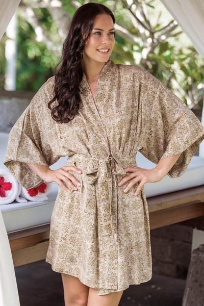 Batik robe, 'Autumn Jasmine' - Floral Batik Patterned Robe