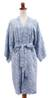Batik robe, 'Underwater' - Blue Batik Rayon Front Wrap Robe Handcrafted in Bali  (image p204334) thumbail