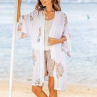Rayon robe, 'Bali Vignette' - Screen Print Patterned Short Women's Robe from Bali