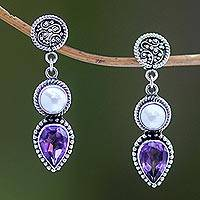 Cultured pearl and amethyst dangle earrings, 'Bright Moon'
