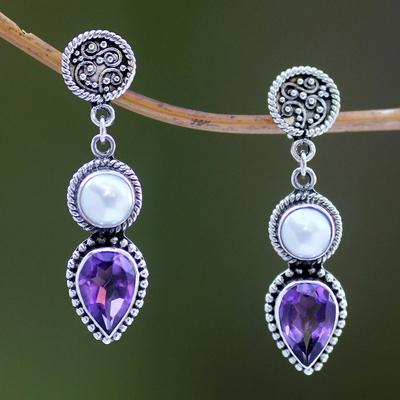 Cultured pearl and amethyst dangle earrings, 'Bright Moon' - Cultured pearl and amethyst dangle earrings