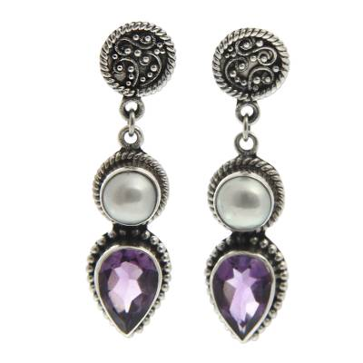 Cultured pearl and amethyst dangle earrings, 'Bright Moon' - Cultured pearl and amethyst dangle earrings