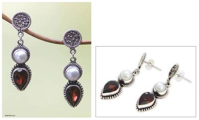 Cultured pearl and garnet dangle earrings, Bright Moon