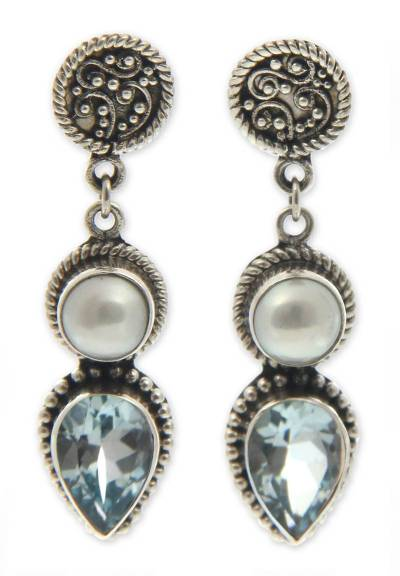 Cultured pearl and blue topaz dangle earrings, 'Bright Moon' - Sterling Silver Pearl and Blue Topaz Earrings