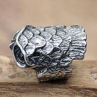 Sterling silver cocktail ring, 'Owl in Flight' - Unique Owl Cocktail Ring in Silver
