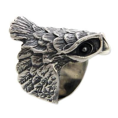 Sterling silver cocktail ring, 'Owl in Flight' - Sterling Silver Cocktail Ring