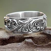 Sterling silver band ring, 'Flourishing Foliage' - Foliage Engraved Sterling Silver Ring