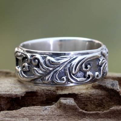 old handmade silver bead necklaces - Leaf and Tree Sterling Silver Band Ring