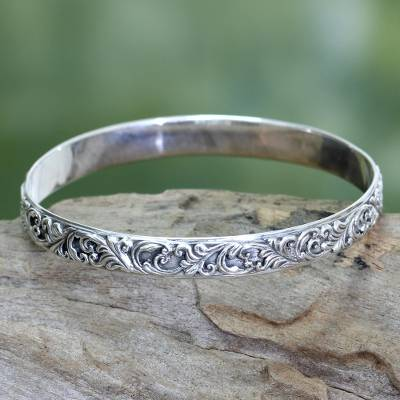 Sterling silver bangle bracelet, 'Timeless Bali' - Artisan jewellery Sterling Silver Bangle Bracelet