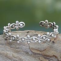 Sterling silver cuff bracelet, 'Floral Buds'