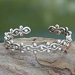 Sterling Silver Cuff Bracelet from Indonesia, 'Floral Buds'